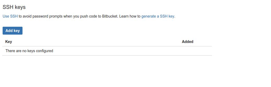 Bitbucket SSH Admin Interace